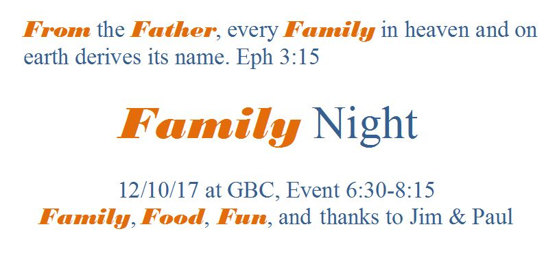 Family Night December 12th - Flyer