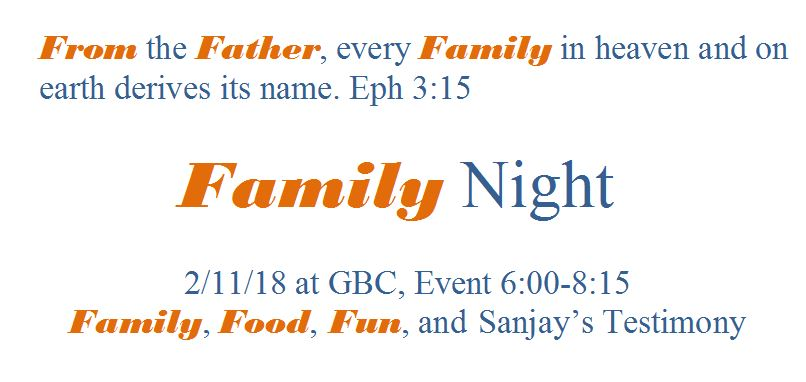GBC Family Night February 11th, 2018